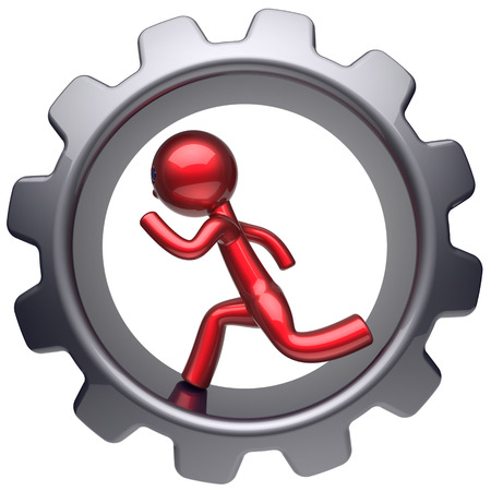 worker person: Man character running inside gearwheel human rotate cogwheel stylized red cartoon guy hamster person worker black gear wheel business career employment businessman concept. 3d render isolated on white Stock Photo