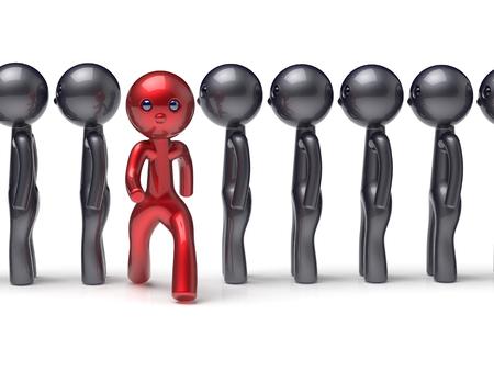 uomo rosso: Persone diverse di caratteri si distinguono dalla folla unico uomo rosso pensare differiscono persona altrimenti correre a nuove opportunità concetto di individualità ora delle risorse umane icona. Rendering 3D isolato Archivio Fotografico