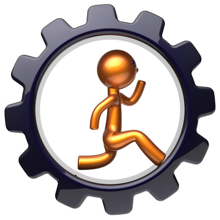 worker person: Gearwheel man character running inside black cogwheel businessman rotate gear wheel stylized golden human cartoon guy hamster person worker business career employment concept. 3d render isolated