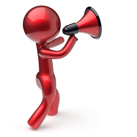communication cartoon: Announcement man megaphone character speaking making news red stylized human cartoon guy speaker person communication people speaker figure icon concept. 3d render isolated