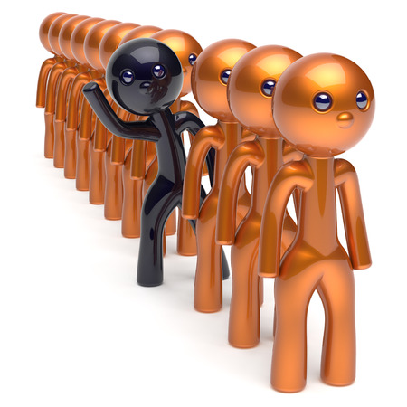 differ: Different people stand out from the crowd individuality black character unique man think differ person otherwise run to new opportunities concept human resources hr icon. 3d render isolated Stock Photo