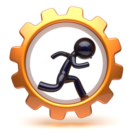 worker person: Man character running inside golden gearwheel businessman rotate cogwheel stylized black human cartoon guy person worker gear wheel business career employment concept. 3d render isolated on white