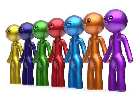 fila di persone: Social network di linea catena delle risorse umane dei personaggi lavoro di squadra amici persone diverse fila amicizia squadra individualit� sette diverse persone fumetto unit� concetto incontro colorato. Rendering 3D isolato