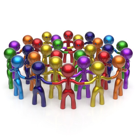 corporate team: Social network large group people teamwork circle characters worldwide friendship individuality team different cartoon friends corporate human unity icon concept colorful. 3d render isolated