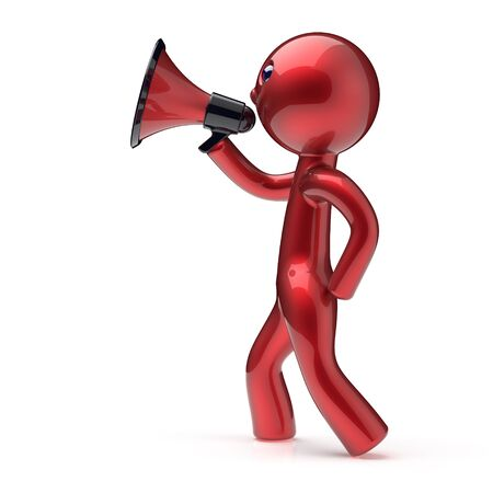 communication cartoon: Man speaking megaphone making news announcement character red stylized human cartoon guy speaker person people communication speaker figure icon concept. 3d render isolated Stock Photo