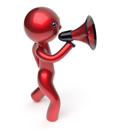 guy person: Man megaphone character news making communication announcement red stylized human cartoon guy person speaking people speaker figure icon concept. 3d render isolated