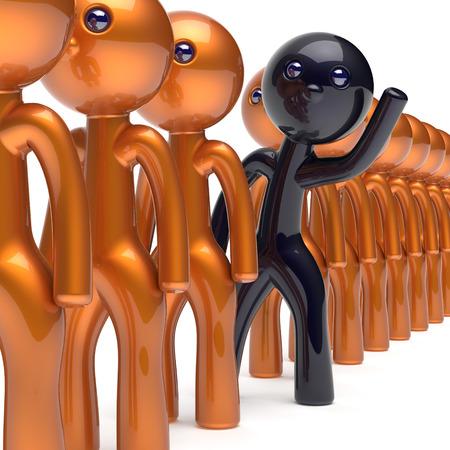 verschillen: Verschillende mensen zwarte karakter te onderscheiden van de gouden menigte unieke individualiteit man denkt verschillen persoon anders hallo naar nieuwe kansen concept van human resources hr pictogram. 3d render geïsoleerde