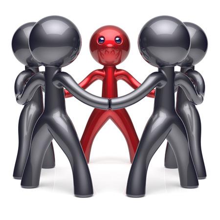 hombre fuerte: Líder del trabajo en equipo círculo de personas estilizado red de recursos humanos equipo amistad carácter liderazgo individualidad cinco amigos de dibujos animados reunión unidad icono concepto negros rojos social. 3d render aislado Foto de archivo