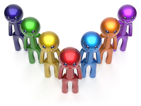 seven persons: Teamwork leadership character men crowd businessman team leader individuality seven cartoon persons icon. Social relationship friends concept 3d render isolated
