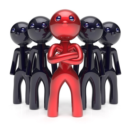 individuality: Teamwork leadership stylized red character black men crowd businessman team leader individuality five cartoon persons icon social relationship friends concept 3d render isolated Stock Photo