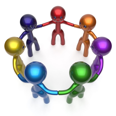 friendship circle: Social network teamwork human resources circle people diverse characters friendship individuality team seven different cartoon friends unity meeting icon concept colorful. 3d render isolated