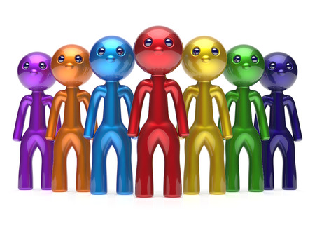 seven persons: Teamwork characters men crowd leadership businessman commander team individuality seven cartoon persons icon. Social relationship friends concept 3d render isolated Stock Photo
