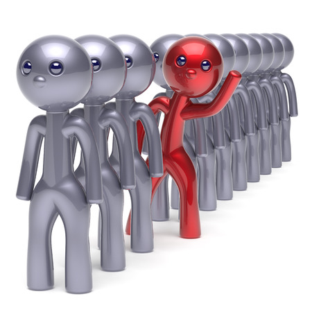 Stand out from the crowd character different individuality  people unique red man think differ person otherwise hello to new opportunities concept human resources hr icon. 3d render isolated Standard-Bild