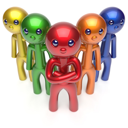 commander: Teamwork characters stylized men crowd leadership businessman commander team individuality five cartoon persons icon colorful social relationship friends concept. 3d render isolated Stock Photo