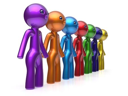 seven persons: Human resource characters social network teamwork friends chain line people diverse friendship row individuality team seven different cartoon persons unity meeting concept colorful. 3d render isolated