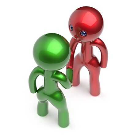 two people meeting: Handshake cartoon characters two men shaking hand business partners deal 2 different businessmen teamwork acquaintance agreement welcome meeting people icon concept red green. 3d render isolated