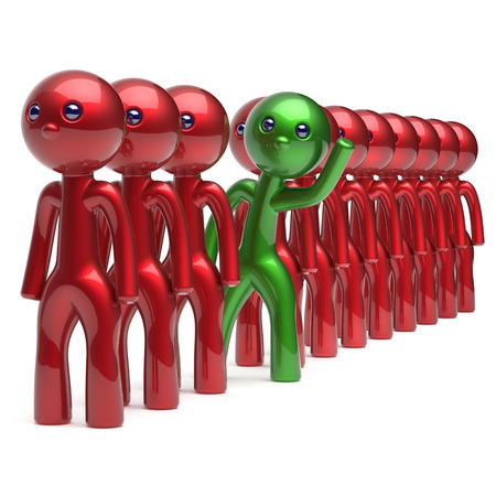 opportunity concept: Different people character individuality stand out from the red crowd unique green man think differ person otherwise welcome to new opportunities concept human resources hr icon. 3d render isolated