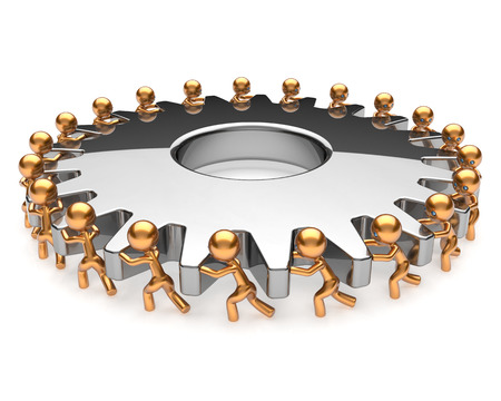 activism: Teamwork turning gearwheel action team work hard job business process men together. Brainstorming partnership cooperation assistance activism community unity concept. 3d render isolated on white Stock Photo