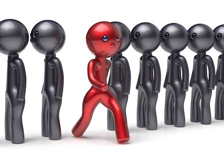 differ: Stand out from the crowd different people individuality character unique red man think differ person otherwise run to new opportunities concept human resources hr icon. 3d render isolated Stock Photo