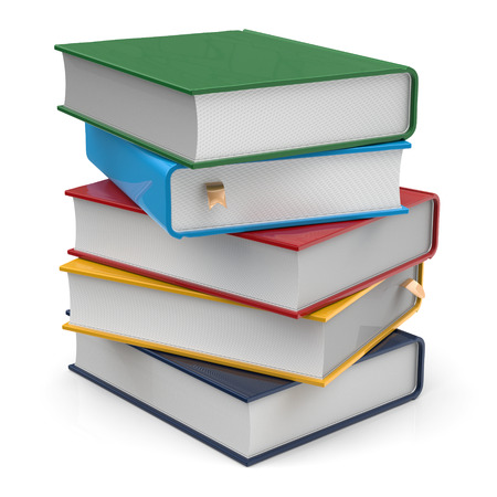 Boeken vijf 5 blanco dekt schoolboeken stapelen verschillende kleurrijke veelkleurige met bookmarks. School studeren informatie-inhoud leren icoon concept. 3d render geïsoleerd op een witte achtergrond
