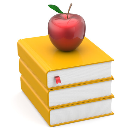 knowledge: Books textbook stack yellow and red bookmark apple education studying reading learning school college knowledge literature idea icon concept. 3d render isolated on white