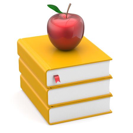 conocimiento: Libros de Libros de Texto pila educación manzana marcador amarillo y rojo estudiar lectura escuela de aprendizaje conocimiento universitario idea literatura icono de concepto. 3d render aislado en blanco