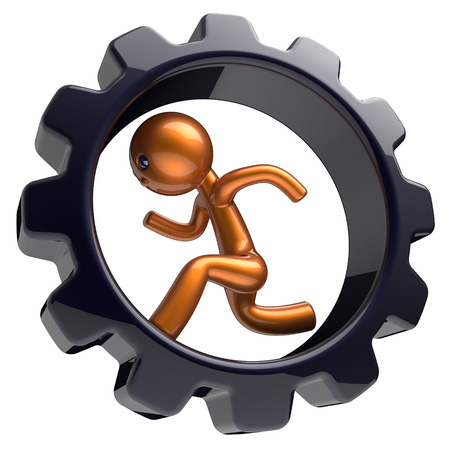 worker person: Business man character running inside gearwheel businessman rotate cogwheel stylized golden human cartoon guy hamster person worker black gear wheel career employment concept. 3d render isolated Stock Photo