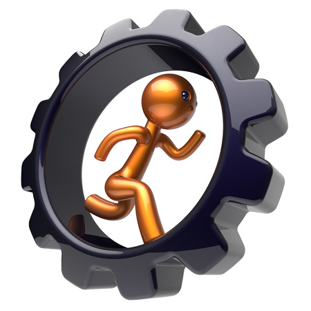worker person: Man character hard work running inside gearwheel businessman rotate cogwheel stylized golden human cartoon guy person worker black gear wheel business career employment job concept. 3d render isolated