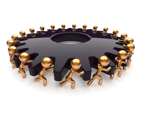 partnership power: Partnership teamwork black gear gearwheel business process team work hard job men turning together. Manpower cooperation assistance activism community concept. 3d render isolated on white Stock Photo