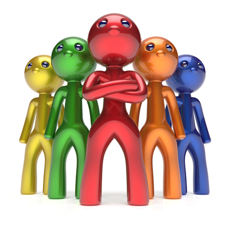 team leadership: Teamwork characters men crowd leadership businessman commander team individuality five cartoon persons icon colorful. Social relationship friends concept 3d render isolated Stock Photo