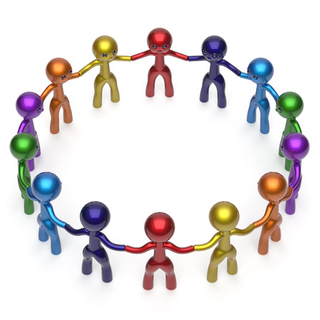team group: Social network men together circle characters worldwide large group stylized people teamwork friendship individuality team different cartoon friends unity human resources concept. 3d render isolated