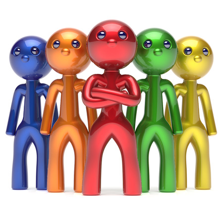 commander: Teamwork characters men crowd leadership businessman commander team individuality five cartoon persons icon colorful social relationship friends concept 3d render isolated