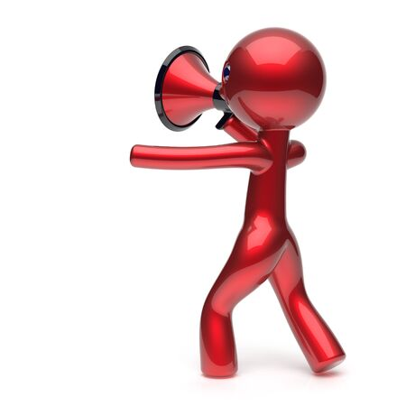 communication cartoon: Man megaphone making news announcement character red stylized human cartoon guy person speaking people communication speaker figure icon concept. 3d render isolated Stock Photo