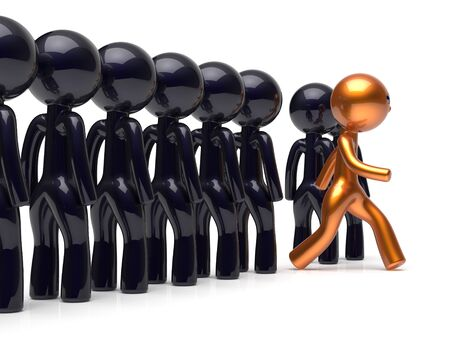 differ: Different people character stand out from the crowd unique individuality man think differ person otherwise run to new opportunities concept human resources hr icon. 3d render isolated Stock Photo