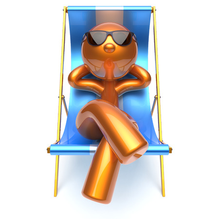 deck chair isolated: Man relaxing chilling beach deck chair sunglasses summer comfort cartoon stylized golden character sun lounger chaise lounge tourist person sunbathing rest vacation harmony icon 3d render isolated