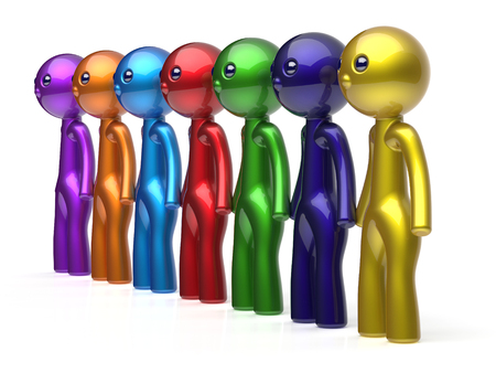seven persons: Human resource characters teamwork social network friends chain line people diverse friendship row individuality team seven different cartoon persons unity meeting concept colorful. 3d render isolated Stock Photo