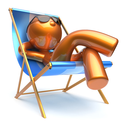 deck chair isolated: Man cartoon character relaxing chilling beach deck chair sunglasses summer comfort stylized golden person sun lounger chaise lounge tourist sunbathing rest vacation harmony icon 3d render isolated