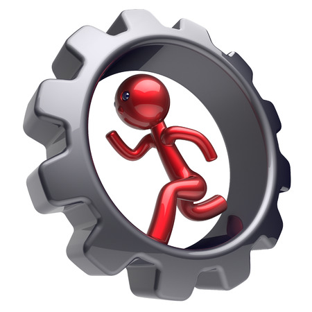 gearwheel: Man character stylized red cartoon guy running inside gearwheel human rotate cogwheel like hamster person worker black gear wheel business career employment businessman concept. 3d render isolated