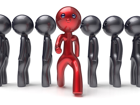 individual: Stand out from the crowd unique different red character people man think differ person otherwise run to new opportunities concept individuality human resources icon. 3d render isolated