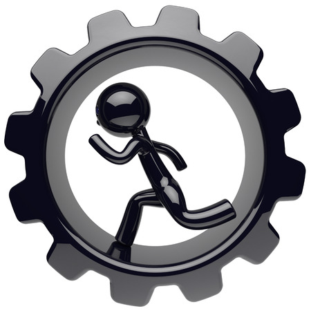worker person: Man character running inside gearwheel cogwheel businessman hamster stylized black human cartoon guy person worker rotate gear wheel business career employment concept. 3d render isolated on white