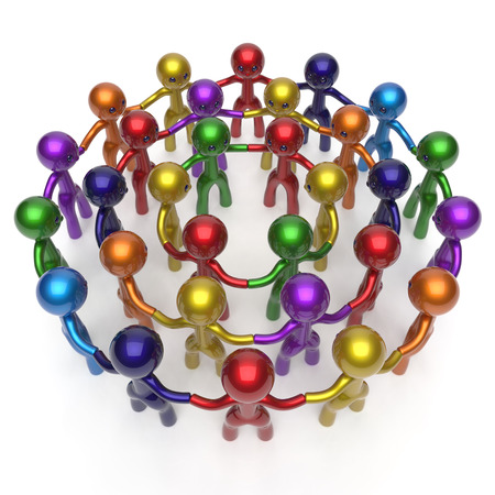 masses: Social network worldwide crowd large circle characters group people teamwork friendship individuality team different cartoon friends corporate human unity icon concept colorful. 3d render isolated