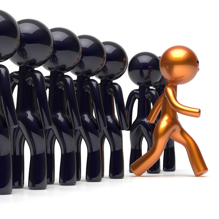 careers: Different people be original individuality character stand out from the crowd unique man think differ person otherwise run to new opportunities concept human resources hr icon. 3d render isolated