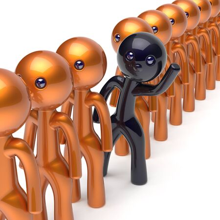 differ: Different people black character stand out from the golden crowd unique individuality man think differ person otherwise hello to new opportunities concept human resources hr icon. 3d render isolated Stock Photo