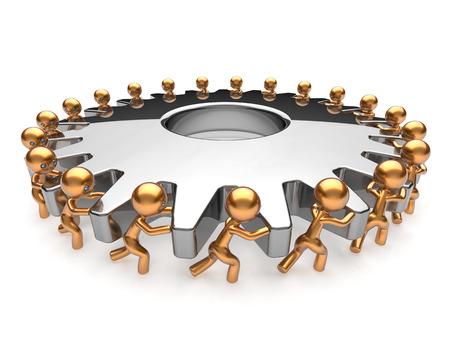 liderazgo empresarial: Asociación de procesos de negocio el trabajo en equipo rueda dentada girando equipo de acción de trabajo los hombres de trabajo duro juntos. Lluvia de cooperación de asistencia activismo concepto de unidad de la comunidad. 3d render aislado en blanco Foto de archivo