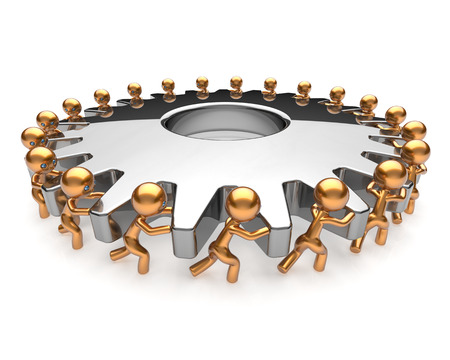 business support: Partnership business process teamwork turning gearwheel action team work hard job men together. Brainstorming cooperation assistance activism community unity concept. 3d render isolated on white