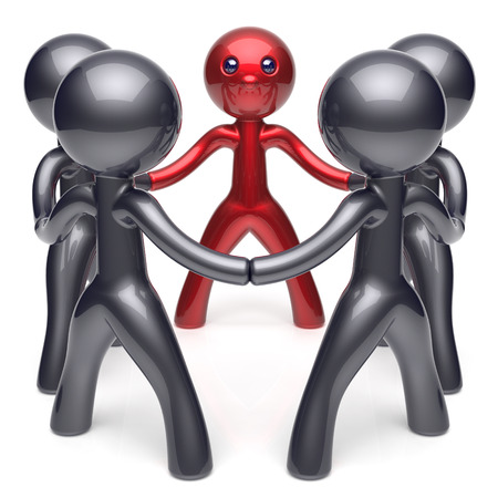 black and red: Leader leadership character teamwork circle stylized people social network human resources individuality friendship team five cartoon friends unity meeting icon concept red black. 3d render isolated Stock Photo