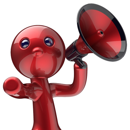 making an announcement: Man megaphone character making announcement red stylized human cartoon guy person speaking people communication speaker figure news icon concept. 3d render isolated