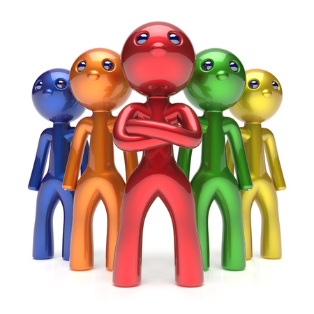 commander: Leadership teamwork characters men crowd businessman commander team individuality five cartoon persons icon colorful. Social relationship friends concept 3d render isolated