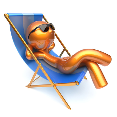 chaise lounge: Man relaxing cartoon character chilling beach deck chair sunglasses summer comfort stylized golden person sun lounger chaise lounge tourist sunbathing rest vacation harmony icon 3d render isolated