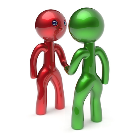 acquaintance: Business men shaking hand cartoon characters handshake business partners deal 2 different businessman teamwork acquaintance agreement welcome meeting people icon concept red green. 3d render isolated